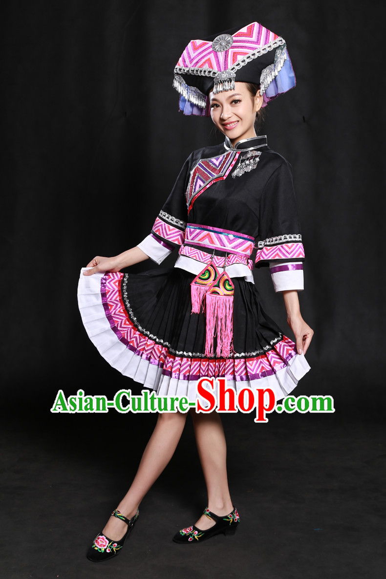 Happy Festival Chinese Minority Miao Dress Uniform Traditional Stage Ethnic National Costume Sale Complete Set