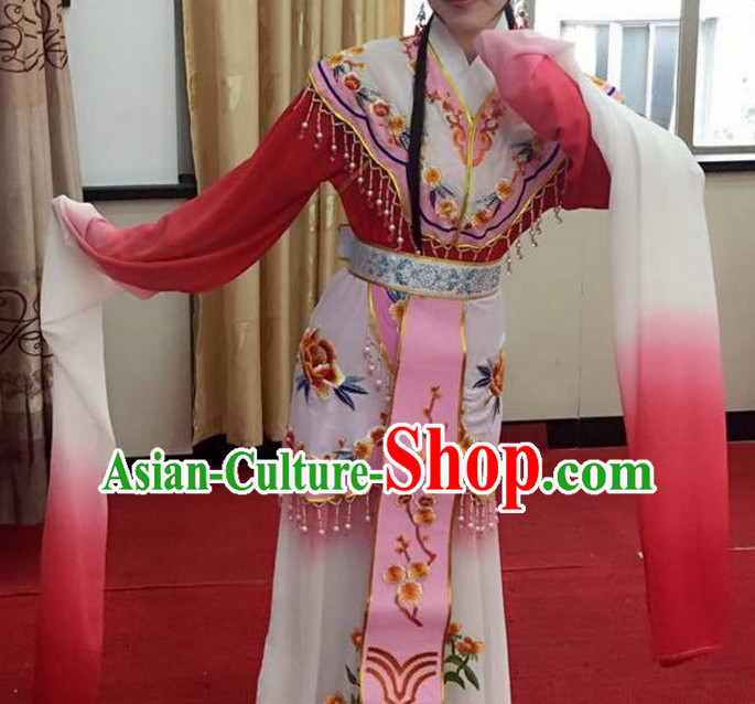 Chinese Yue Opera Long Sleeves Dance Costumes Huang Mei Opera Costume Complete Set for Women Girls Children Adults
