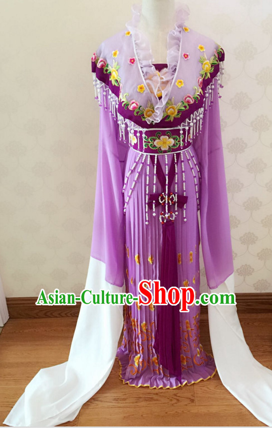 Chinese Classical Yue Opera Long Sleeves Dance Costumes Huang Mei Opera Costume Complete Set for Women Girls Children Adults
