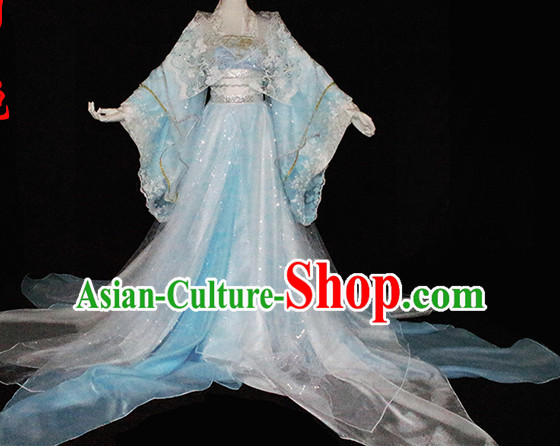 Top Light Blue Chinese Imperial Royal Princess Traditional Wear Queen Dresses Fairy Cosplay Costumes Ideas Asian Cosplay Supplies Complete Set