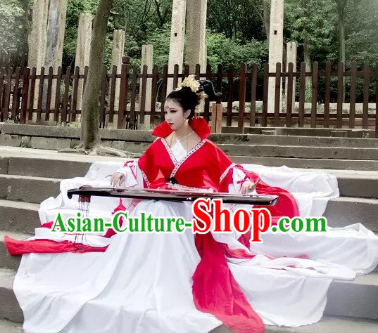 Top Red White Chinese Imperial Royal Princess Traditional Wear Queen Dresses Fairy Cosplay Costumes Ideas Asian Cosplay Supplies Complete Set