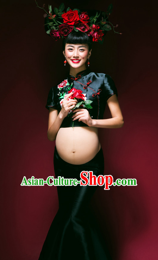 Traditional Chinese Pregnant Women Costume Chinese Classical Dance Costumes and Headpieces Complete Set