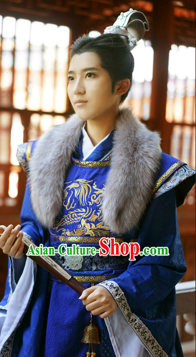 Royal Palace Imperial Emperor Prince Hanfu Hanzhuang Han Fu Han Clothing Traditional Chinese Dress National Costume Complete Set for Men or Boys