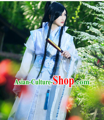 Blue Ancient China Style Halloween Warrior Costumes High Quality Chinese National Costumes Complete Set for Men