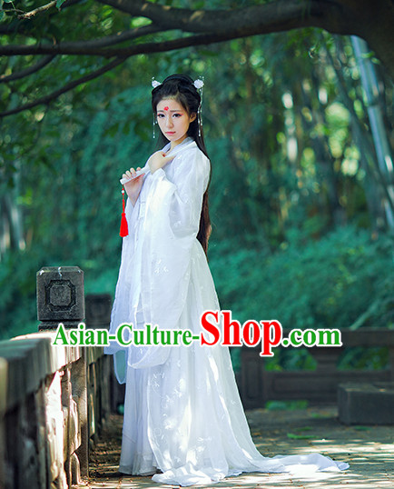 Ancient Chinese Pure White Hanfu National Costumes and Headpieces Complete Set for Women