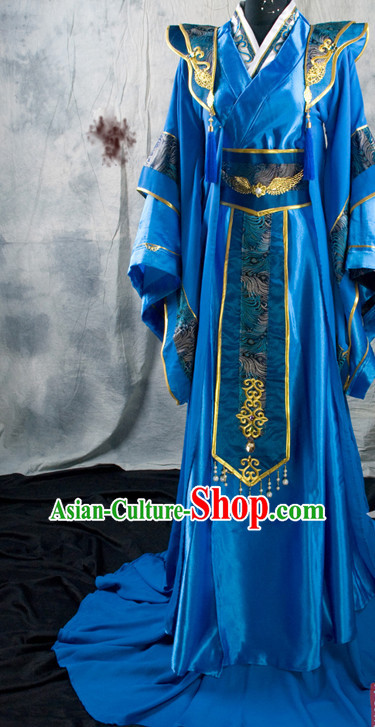 Chinese Classical Imperial Emperor Royal Hanfu Han Fu Clothes and Hairpieces Complete Set for Men