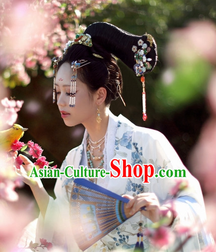 Chinese Ancient Style Black Wigs and Headgear