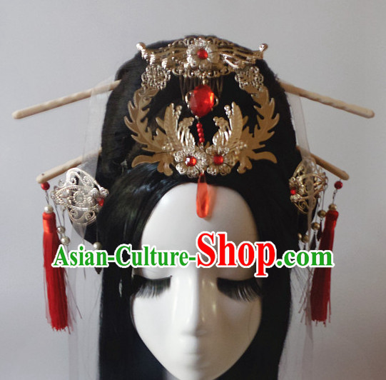 Chinese Classic Lady Headwear Crowns Hats Headpiece Hair Accessories Jewelry Set