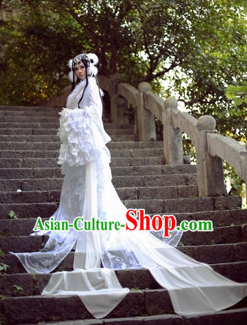 Top White Chinese Fairy Princess Hanfu Costumes Theater and Reenactment Costumes and Headgear Complete Set for Women