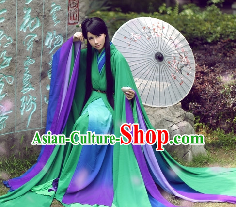 Top Chinese Beauty Hanfu Costumes Theater and Reenactment Costumes and Headgear Complete Set for Women