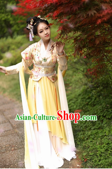 Top Chinese Han Dynasty Lady Hanfu Clothing Theater and Reenactment Costumes and Headgear Complete Set