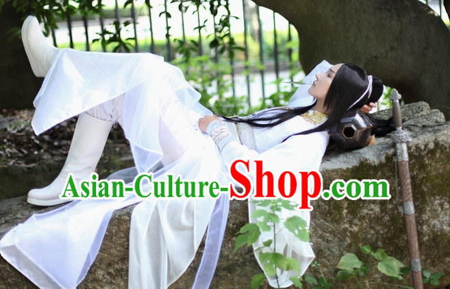 Pure White Chinese Swordsman Hanfu Clothing Theater and Reenactment Costumes Complete Set