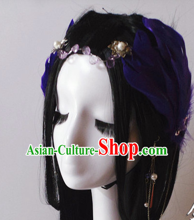 Chinese Classical Feather Hair Headwear Crowns Hats Headpiece Hair Accessories Jewelry Set