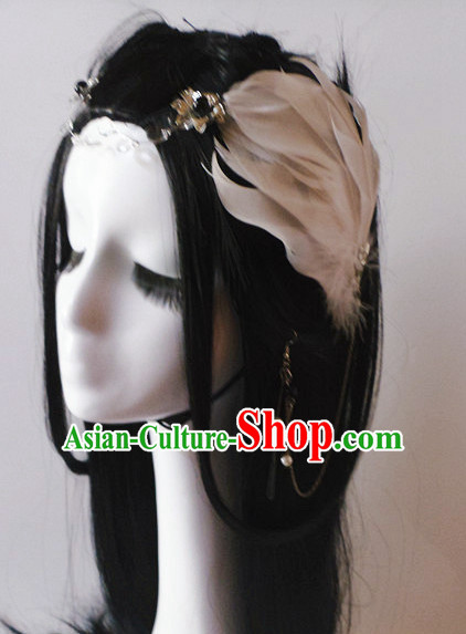Light Coffee Chinese Classical Feather Hair Headwear Crowns Hats Headpiece Hair Accessories Jewelry Set