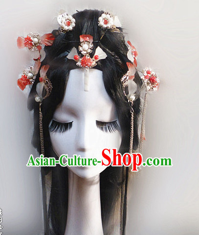 Orange Chinese Classical Fairy Headwear Crowns Hats Headpiece Hair Accessories Jewelry Set