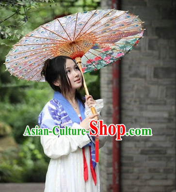 Asian Dance Umbrella China Handmade Classical Peacock Umbrellas Stage Performance Umbrella Dance Props
