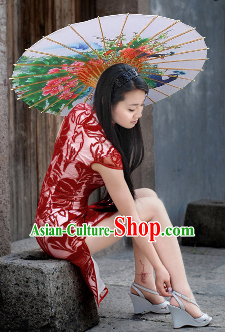 Asian Dance Umbrella China Handmade Peacock Umbrellas Stage Performance Umbrella Dance Props