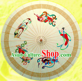 Chinese Dance Umbrella Traditional Rainproof Handmade Chinese Oil Paper Umbrellas Stage Performance Umbrella Dancing Props