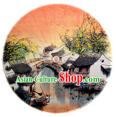 Traditional Rainproof Handmade Chinese Oil Paper Umbrellas China Dance Umbrella Stage Performance Umbrella Dancing Props