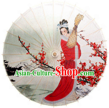 Traditional Rainproof Handmade Chinese Classic Flower Oil Paper Umbrellas China Dance Umbrella Stage Performance Umbrella Dancing Props