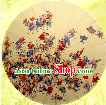 Traditional Rainproof Handmade Chinese Classic Oil Paper Beauty Umbrellas China Dance Umbrella Stage Performance Umbrella Dancing Props