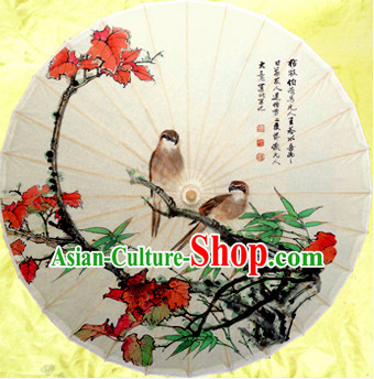 Traditional Rainproof Handmade Chinese Classic Oil Paper Birds Umbrellas China Dance Umbrella Stage Performance Umbrella Dancing Props
