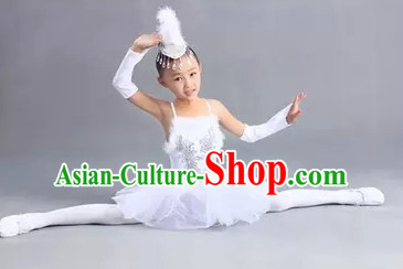 Chinese White Peacock Dance Costume Dance Costumes for Girls