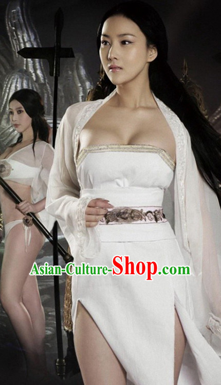 Chinese Sexy Women White Hanfu Costume Complete Set