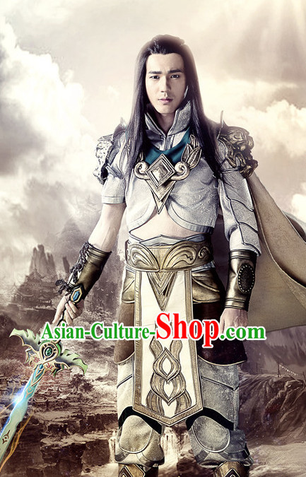 Chinese Ancient Swordsman Hanfu Clothing Film Hero Costumes Traditional Knight Body Armor Costume Complete Set