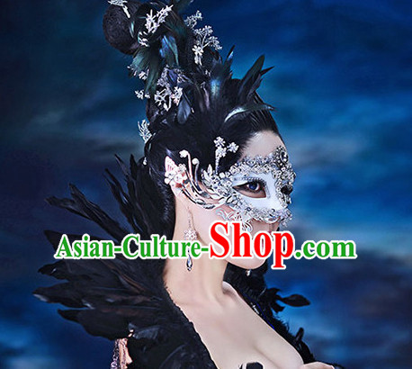 Chinese Queen Cosplay Costumes Mask and Hair Ornaments Complete Set