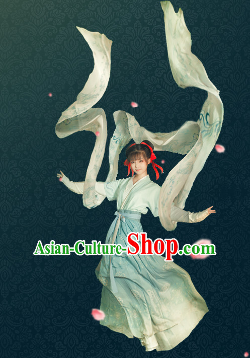 Chinese Ancient Women Hanfu Clothing Stage Drama Performance Traditional Girl Dress and Hairpins Complete Set