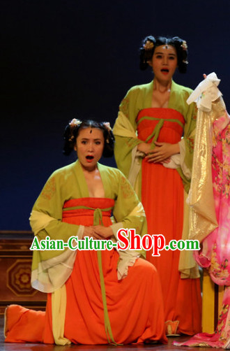 China Ancient Tang Dynasty Palace Maid Opera Costume Drama Stage Costumes Complete Set