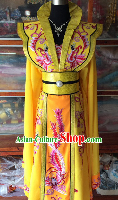 Long Sleeves China Beijing Opera Women Princess Phoenix Costume Embroidered Robe Stage Costumes Complete Set