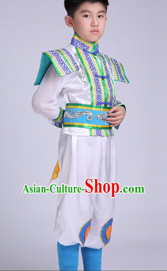 Chinese Kids Minority Dance Dress China Fan Dance Costume Ribbon Dance Costumes Folk Dance Suit