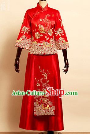 Top Traditional Chinese Phoenix Embroidered Wedding Dresses Wedding Gowns for Brides