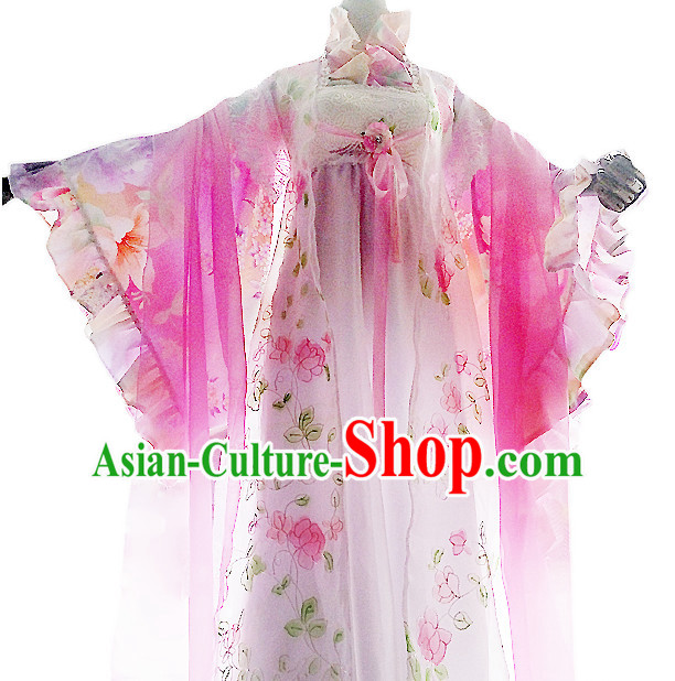 Ancient Chinese Costumes Flower Costume Traditional Chinese Fairy Hanfu Han Fu Costumes Ancient Cosplay Complete Set