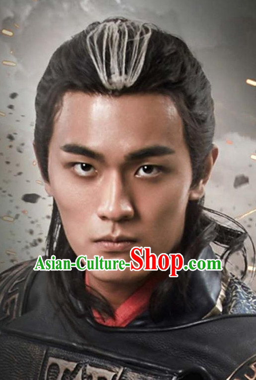 Chinese Ancient Kung Fu Male Long Wigs