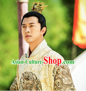 Chinese Ancient Male Emperor Black Wigs and Coronet