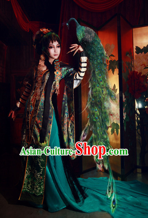 Chinese Women Peacock Empress Hanbok Kimono Stage Opera Costume Dresses Costume Ancient Cosplay Complete Set