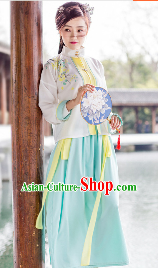 Chinese Traditional Ming Dynasty Royal Stage Hanfu Hanbok Kimono Costume Dresses Costume Ancient Garment Complete Set