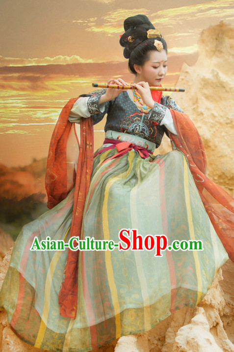 Chinese Traditional Tang Dynasty Royal Stage Hanfu Hanbok Kimono Costume Dresses Costume Ancient Garment Complete Set