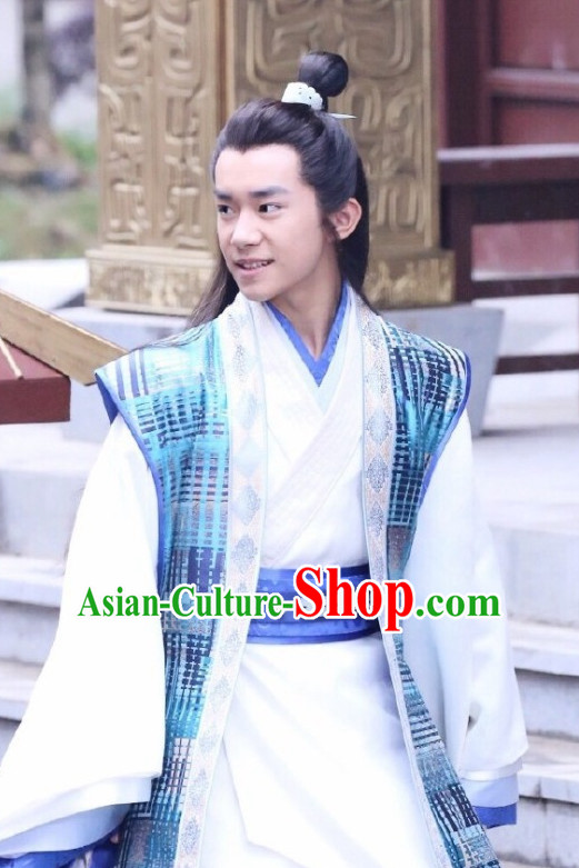 Chinese Ancient Male Teenagers Long Black Wigs