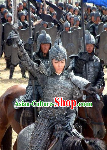 Chinese Traditional Men General Body Armor Stage Hanfu Costume Dresses Costume Ancient Garment and Headpieces Complete Set
