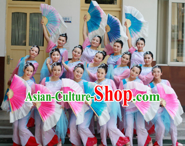 Chinese Classical  Fan Dance Costume Complete Set