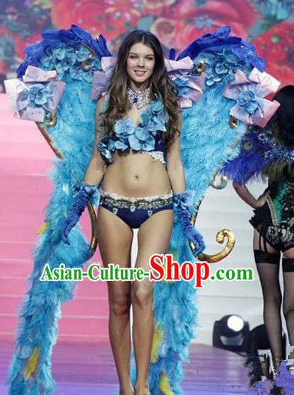 Parade Quality Feather Dance Costumes Popular Ostrich Feathers Fancy Bird Costume Stage Costumes Angel Wings Costume Complete Set