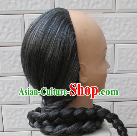 Qing Dynasty Kung Fu Master Half White Wig for Men or Boys