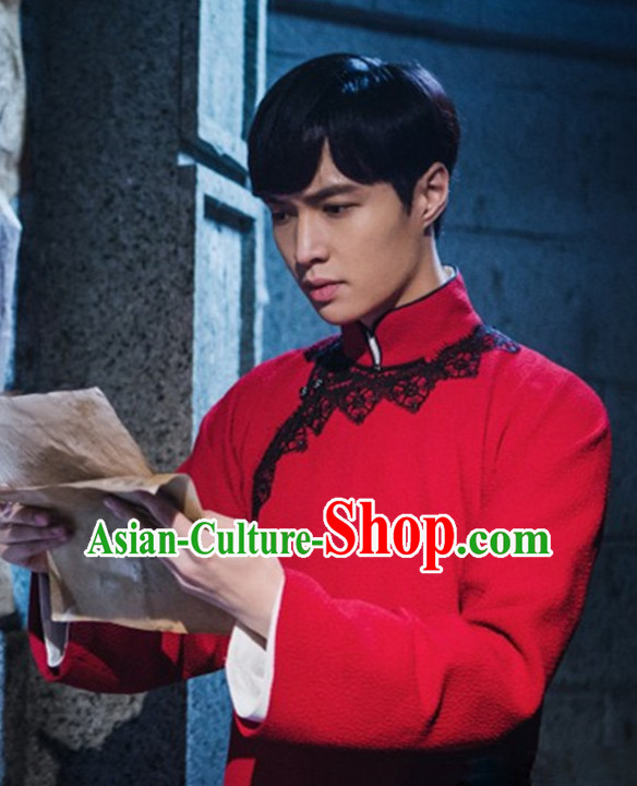 Chinese Traditional Minguo Robe Dress Complete Set for Men