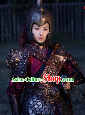 Chinese Ancient General Female Hero Body Armor Costumes Complete Set for Women
