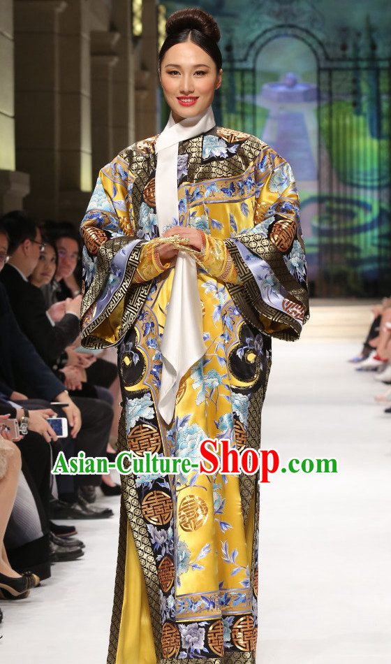 Qing Dynasty Imperial Empress Clothing Garment Complete Set for Women
