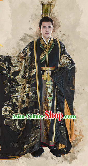 Chinese Ancient Imperial Palace Emperor Clothing Garment and Crown Complete Set for Men